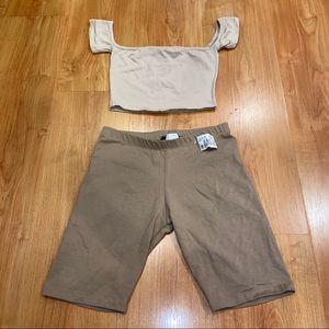 Biker shorts and crop top set